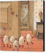 Eggs And Dog Canvas Print by Kestutis Kasparavicius