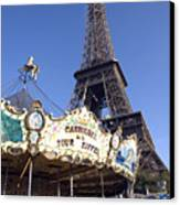 Eiffel Tower And Ancient Carousel Canvas Print