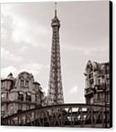 Eiffel Tower Black And White 3 Canvas Print by Andrew Fare