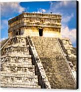 El Castillo - Pyramid At Chichen Itza Canvas Print by Mark E Tisdale