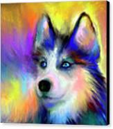Electric Siberian Husky Dog Painting Canvas Print by Svetlana Novikova