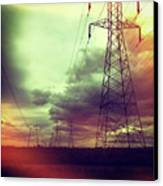 Electricity Pylons Canvas Print by Mardis Coers