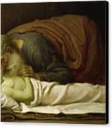 Elisha Raising The Son Of The Shunamite Canvas Print by Frederic Leighton
