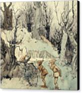 Elves In A Wood Canvas Print by Arthur Rackham