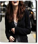 Emma Stone At Talk Show Appearance Canvas Print by Everett
