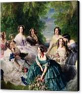 Empress Eugenie Surrounded By Her Ladies In Waiting Canvas Print by Franz Xaver Winterhalter