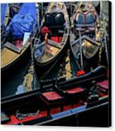 Empty Gondolas Floating On Narrow Canal In Venice Canvas Print by Sami Sarkis