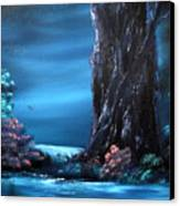 Enchanted Oak By Moonlight Canvas Print by Cynthia Adams