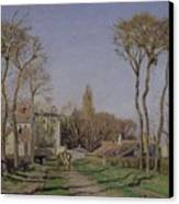 Entrance To The Village Of Voisins Canvas Print by Camille Pissarro