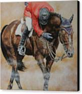 Eric Lamaze And Hickstead Canvas Print by David McEwen