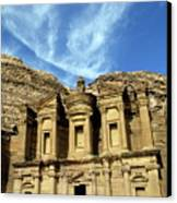 Facade Of Ad Deir An Ancient Rock-cut Monastery In Petra Canvas Print