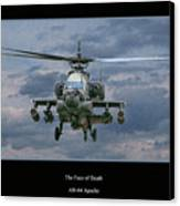 Face Of Death Ah-64 Apache Helicopter Canvas Print by Randy Steele