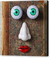 Facebook Old Book With Face Canvas Print by Garry Gay