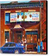 Fairmount Bagel With Blue Car  Canvas Print