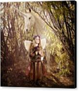 Fairy And Unicorn Canvas Print by Cindy Singleton