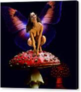 Fairy On Mushroom Canvas Print