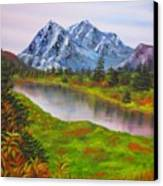 Fall In Mountains Landscape Oil Painting Canvas Print