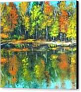 Fall Landscape Acrylic Painting Framed Canvas Print