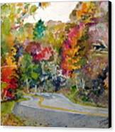 Fall Road - Watercolor Canvas Print