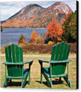 Fall Scenic With  Adirondack Chairs At Jordan Pond Canvas Print