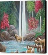 Family Bath Canvas Print by Janna Columbus