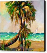 Family Of Palm Trees With Sail Boats Canvas Print