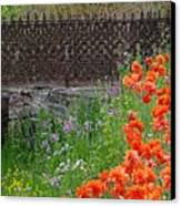 Fancy Foot Bridge And Poppies Canvas Print by Stephanie Calhoun