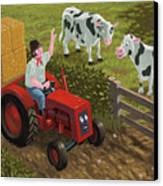 Farmer Visiting Cows In Field Canvas Print by Martin Davey