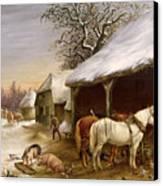 Farmyard In Winter  Canvas Print by Henry Woollett
