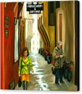 Fashion Alley In Bologna Canvas Print by Milagros Palmieri
