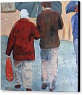 Father And Son Promenade Canvas Print
