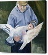 Feeding The Pigeons Canvas Print