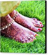 Feet With Mehndi On Grass Canvas Print by Athul Krishnan (www.athul.in)