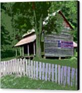 Fence And Cabin Canvas Print