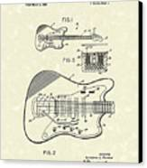 Fender Guitar 1966 Patent Art Canvas Print by Prior Art Design