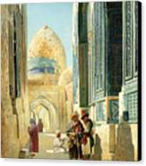 Figures In A Street Before A Mosque Canvas Print by Richard Karlovich Zommer