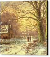 Figures On A Path Before A Village In Winter Canvas Print by Johannes Hermann Barend Koekkoek