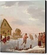 Figures Skating In A Winter Landscape Canvas Print by Hendrik Willem Schweickardt