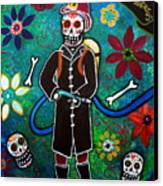 Firefighter Day Of The Dead Canvas Print by Pristine Cartera Turkus