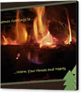 Fireside Christmas Greeting Canvas Print by DigiArt Diaries by Vicky B Fuller