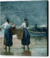 Fisher Girls By The Sea Canvas Print by Winslow Homer