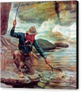 Fisherman By Stream Canvas Print