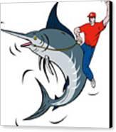 Fisherman Riding Marlin Canvas Print by Aloysius Patrimonio