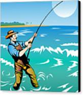 Fisherman Surf Casting Canvas Print