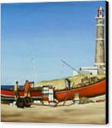 Fishermen By Lighthouse Canvas Print