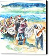 Fishermen In Praia De Mira Canvas Print