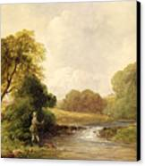 Fishing - Playing A Fish Canvas Print by William E Jones