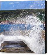 Fishing Beyond The Surf Canvas Print by Terri Waters