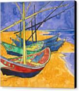 Fishing Boats On The Beach At Saintes Maries De La Mer Canvas Print by Vincent Van Gogh