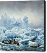 Fishing For Walrus In The Arctic Ocean Canvas Print by Francois Auguste Biard